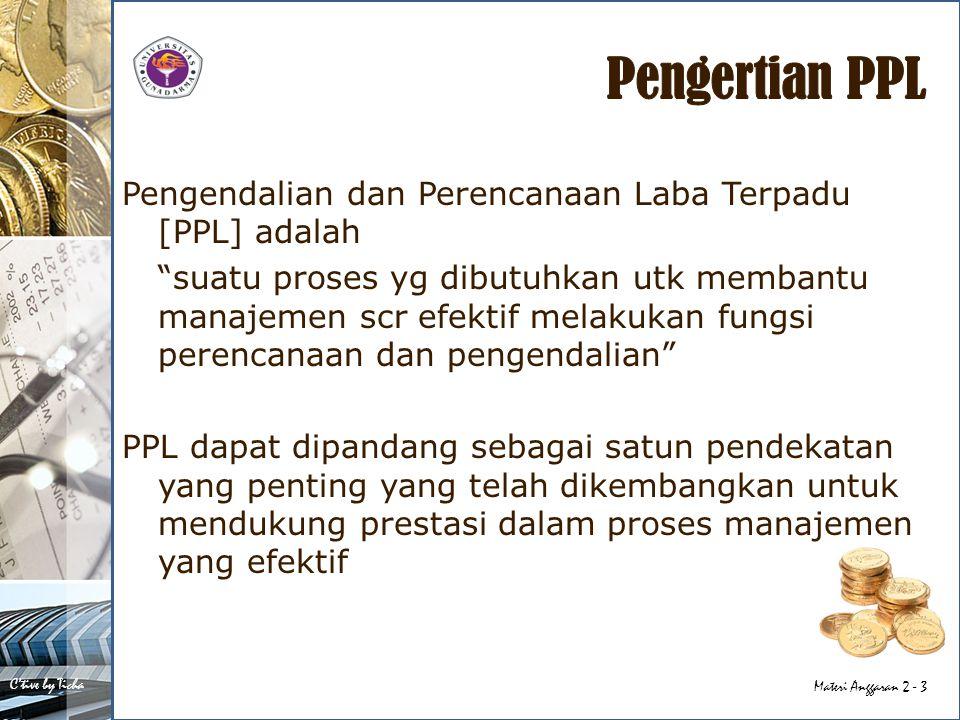 Pengertian PPL Pengendalian dan Perencanaan Laba Terpadu [PPL] adalah